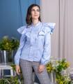 Синя дамска блуза с дълъг ръкав BESI